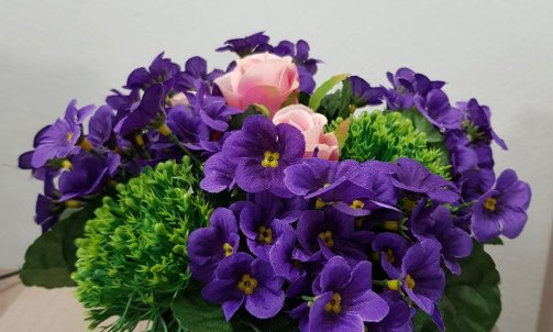 Fleur Artificielle en pot Violette + Rose
